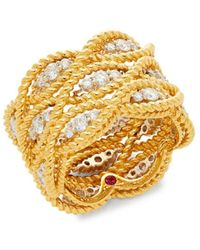 Roberto Coin New Barocco 18k Two-tone Gold & Diamond Multi-row Ring - Metallic