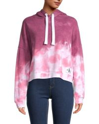 Ck Jeans Tie-dyed Cotton-blend Hoodie - Pink