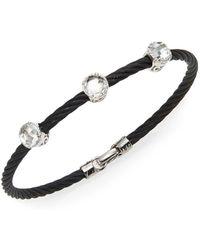 Alor - Noir White Topaz, 18k White Gold & Black Stainless Steel Bangle Bracelet - Lyst