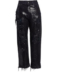 R13 Distressed Cropped Sequin Jeans - Black
