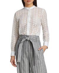 Theory Women's Daisy Mandarin Collar Sheer Shirt - White - Size Xs