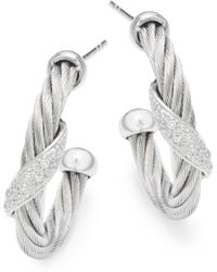 Alor - 18k White Gold & Stainless Steel Diamond Hoop Earrings - Lyst