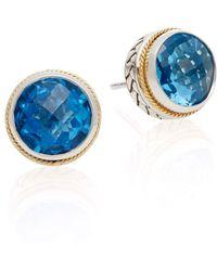 Effy - Blue Topaz, Sterling Silver & 18k Yellow Gold Stud Earrings - Lyst