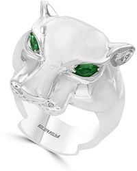 Effy Sterling Silver & Tsavorite Jaguar Ring - Metallic