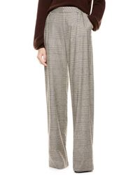 Alice + Olivia Eric High-waist Prince Of Wales Check Wool-blend Trousers - Grey