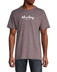 Hurley Men's Siro Script T-shirt - Burgundy - Size Xl - Purple