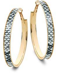 Panacea Snake-print Hoop Earrings - Multicolour
