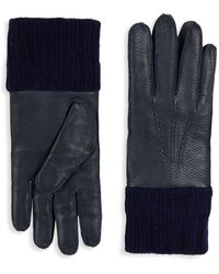 Saks Fifth Avenue - Textured Leather & Wool Gloves - Lyst