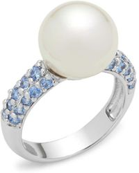 Majorica - Faux Pearl, Crystal And Sterling Silver Solitaire Ring - Lyst