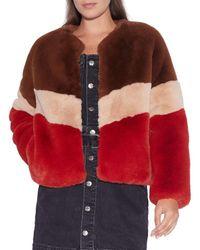 Apparis Brigitte Colorblock Faux Fur Jacket - Red