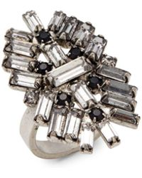 DANNIJO - Crystal & Silver Cocktail Ring - Lyst
