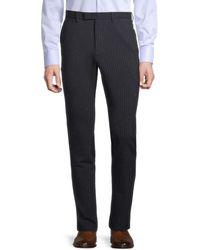 John Varvatos Slim-fit Pinstriped Virgin Wool-blend Trousers - Blue