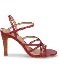 Etienne Aigner Milan Leather Heeled Sandals - Red