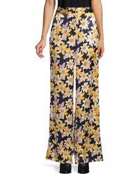 Elizabeth and James Floral-print Wide-leg Silk Pants - Multicolor