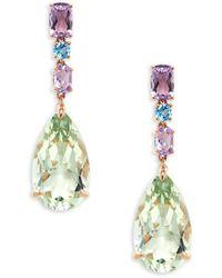 Effy 14k Rose Gold, Amethyst & Topaz Drop Earrings - Multicolour