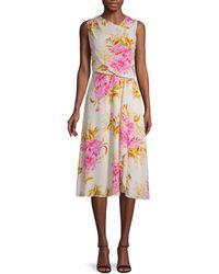 Donna Ricco Asymmetrical Draped Floral Dress - Multicolor