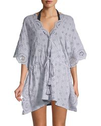 Surf Gypsy Women's Drawstring-waist Eyelet Coverup - Lavender - Size M - Blue
