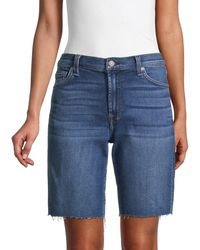 7 For All Mankind Relaxed-fit Bermuda Denim Shorts - Blue