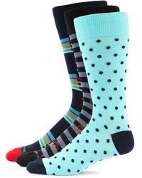 Unsimply Stitched Men's 3-pack Multicolored Crew Socks - Blue