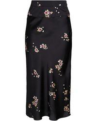 Free People Normani Bias Floral Long Skirt - Black