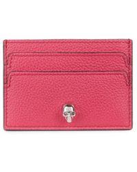 Alexander McQueen Leather Skull Card Holder - Pink