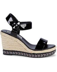 Karl Lagerfeld Cascada Espadrille Wedge Sandals - Black