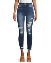 Flying Monkey High-rise Distressed Super Skinny Jeans - Blue