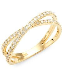 Nephora - 14k Yellow Gold & Diamond Crisscross Ring - Lyst