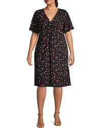 Estelle Plus Falling Petal A-line Dress - Black