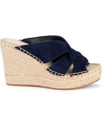 Kenneth Cole Owen Swirl Suede Espadrille Wedge Mules - Blue