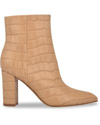 Marc Fisher Ulani 3 Croc-embossed Leather Booties - Natural