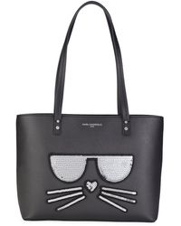 Karl Lagerfeld Sequin Patch Graphic Tote - Black