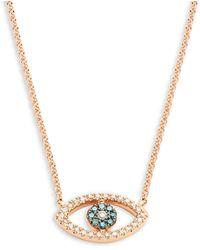 Effy 14k Rose Gold Blue & White Diamond Eye-shaped Pendant Necklace - Multicolour