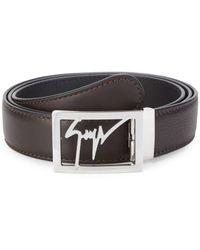 Giuseppe Zanotti Logo Leather Belt - Brown
