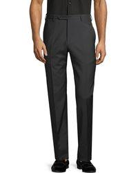 Zanella Parker Flat-front Wool Trousers - Black
