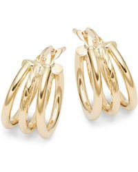 Saks Fifth Avenue 14k Gold Triple Hoop Earrings - Metallic