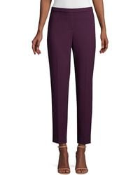 Elie Tahari Marcia Stretch Suiting Ankle Trousers - Purple