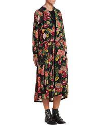 Junya Watanabe Georgette Floral Robe Midi Dress - Black