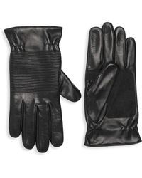 Portolano Ribbed Leather Gloves - Black