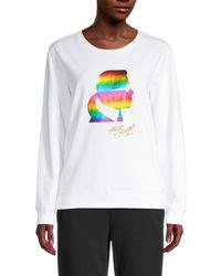 Karl Lagerfeld - Women's Rainbow Graphic Sweatshirt - White Rainbow - Size M - Lyst