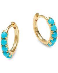 Saks Fifth Avenue Women's 14k Yellow Gold & Turqouise Huggie Hoop Earrings - Metallic