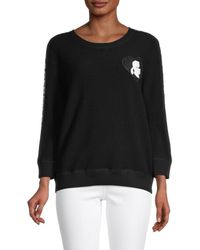 Karl Lagerfeld Women's Logo Cotton-blend Jumper - Soft White - Size Xl - Black
