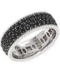 Effy Sterling Silver & Black Sapphire Band Ring - Metallic