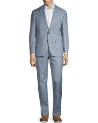 Lauren by Ralph Lauren Classic Fit Sharkskin Wool-blend Suit - Blue