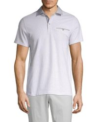 Saks Fifth Avenue Dotted Short-sleeve Polo - White