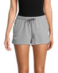 PUMA Logo Mini Cotton-blend Shorts - Grey
