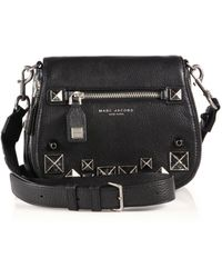 Marc By Marc Jacobs Recruit Small Chipped Studs Leather Saddle Crossbody Bag - Black