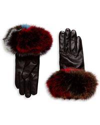 Surell - Chic Fox Fur Leather Gloves - Lyst