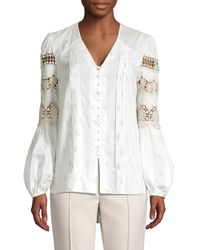 Elie Tahari Leigha V-neck Long-sleeve High-low Blouse With Lace & Embroidery - White