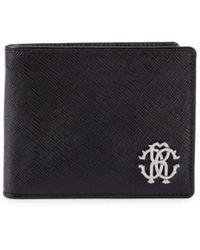 Roberto Cavalli Men's Textured Leather Billfold Wallet - Black